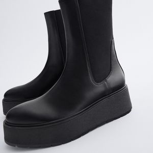 NWT ZARA | Flat Platform Leather Ankle Boots Black